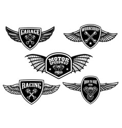 set of vintage winged emblems racing motorcycles vector image