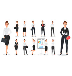 Set of young pretty business woman character vector