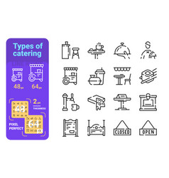 set types catering simple lines icons fast vector image