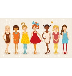 Seven girls set vector