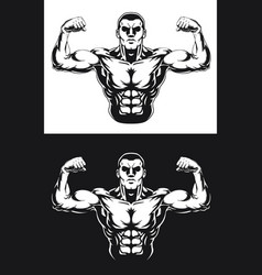 silhouette bodybuilding pose front double bicep vector image
