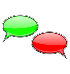 speech bubbles red and green communication 3d vector image