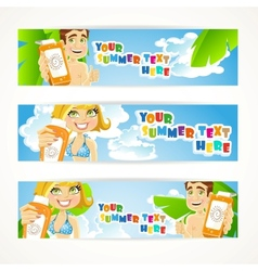 Sunny summer banner with young people vector image
