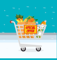 Supermarket shopping cart with groceries vector