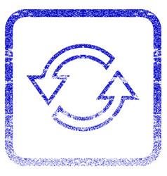 Sync arrows framed textured icon vector
