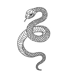 tattoo snake traditional black dot style ink vector image