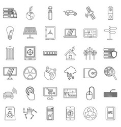 technology icons set outline style vector image