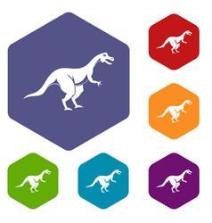 Theropod dinosaur icons set hexagon vector