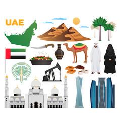Uae travel icons set vector
