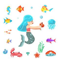 uder sea cute little mermaid swimming fishes vector image