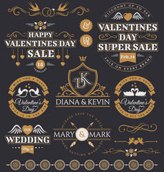 Valentines day and wedding design elements vector