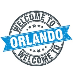 Welcome to Orlando blue round vintage stamp vector