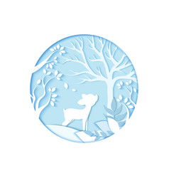 winter paper art carve of deer in the forest vector image