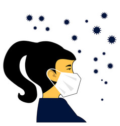 Woman in white medical face mask vector