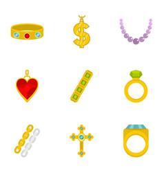 Women jewelry icon set flat style vector