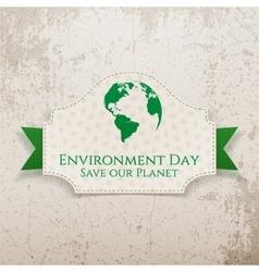 World Environment Day Earth Badge and Ribbon vector image