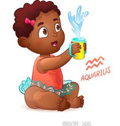 Zodiac sign aquarius african american cute girl vector
