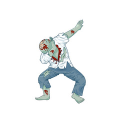 zombie walking dead man character dancing dab step vector image