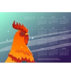 Calendar 2017 Space background with a rooster vector image