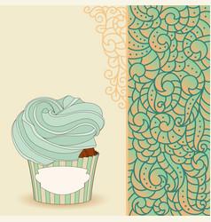cartoon sweet cupcake and doodle boho pattern vector image vector image