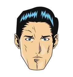 comic style face of man with black hair icon vector image