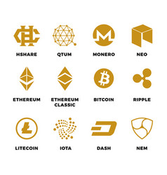 popular cryptocurrency bitcoin blockchain vector image