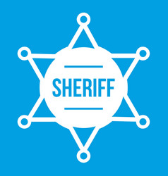 sheriff badge icon white vector image