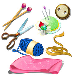 Tools and materials for seamstress icons isolated vector
