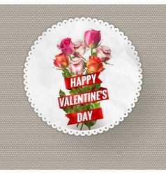 Valentines Day vintage card with roses EPS 10 vector image vector image