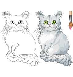 Coloring Book of funny cat Tiffany vector image