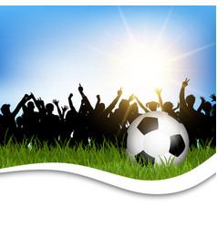 football in grass with cheering crowd vector image vector image