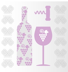 Red wine and tasting card bottle vector image vector image