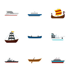 sea transport icons set flat style vector image