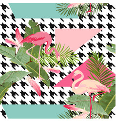 seamless tropical flowers and flamingo pattern vector image vector image