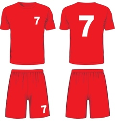 Set of soccer uniform front and back view vector image