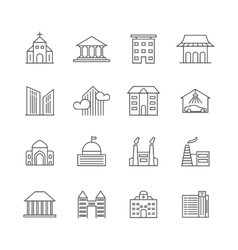 House and building line icons Real estate vector image