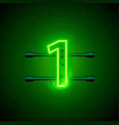 neon city font sign number 1 signboard one vector image vector image
