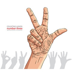 Numbers hand signs set number three detailed vector image vector image