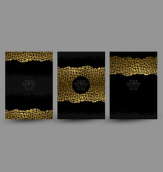 set of banners with gold texture decoration on the vector image