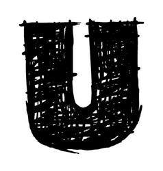 U - hand drawn character sketch font vector image