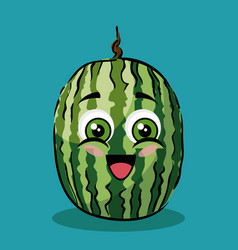 watermelon fruit comic characters vector image