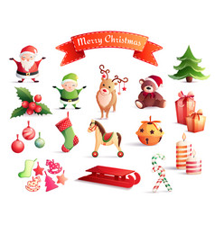 christmas cartoon icons set vector image