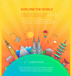 explore the world - flat design travel composition vector image