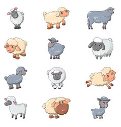 sheep cute lamb farm iicons set cartoon style vector image