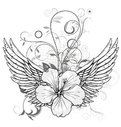 spring floral with wings vector image