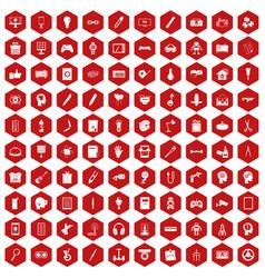 100 creative idea icons hexagon red vector