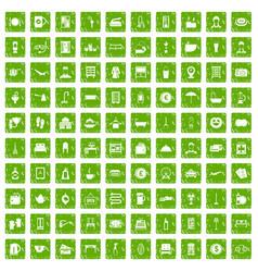 100 inn icons set grunge green vector