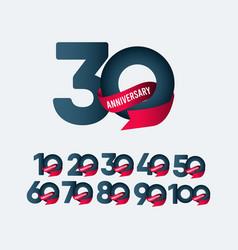 30 years anniversary celebration ribbon gradient vector
