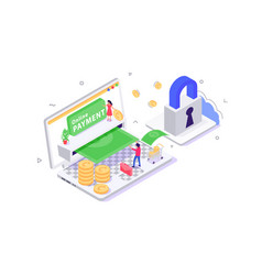 3d isometric online payment with security young vector image