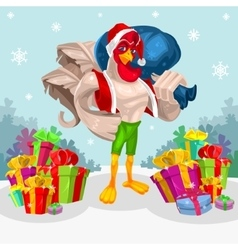 a rooster - Santa Claus vector image